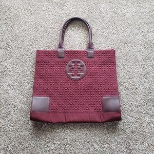TORY BURCH Maroon Quilted Nylon Fabric Tote Bag